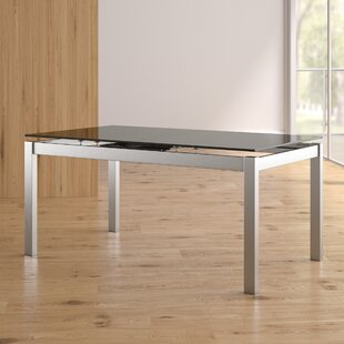 Low priced Grizzle Tempered Glass Top Extendable Dining Table By Orren Ellis