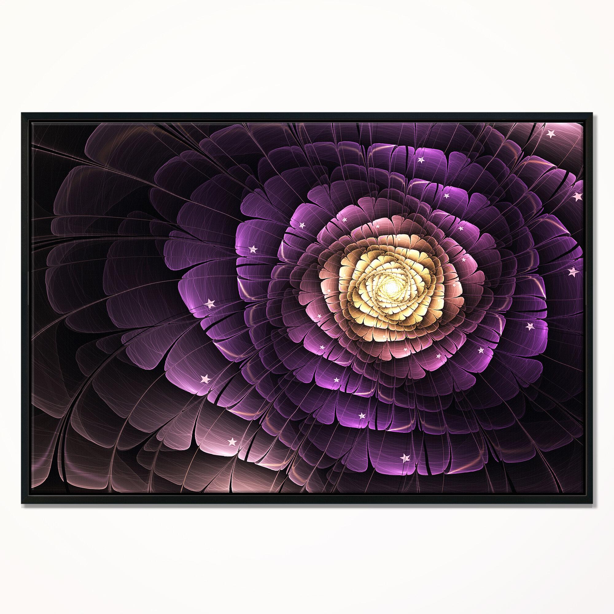 East Urban Home Fractal Flower Light Purple Digital Art Framed Graphic Art Print On Wrapped Canvas Wayfair