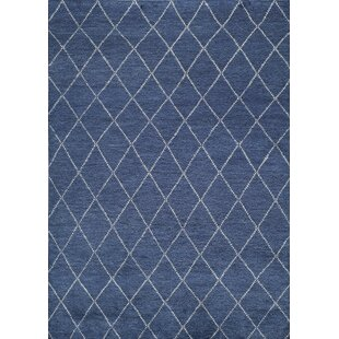 Brice Hand-Knotted Navy Area Rug By Mercury Row