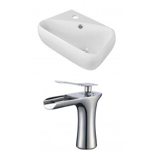 Ceramic 11 Wall Mount Bathroom Sink with Faucet and Overflow ByRoyal Purple Bath Kitchen
