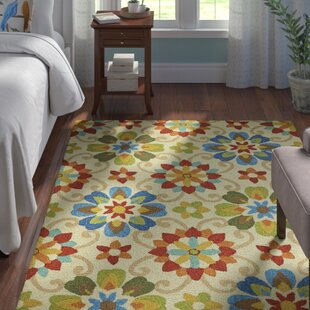 Corbitt Hand-Hooked Beige/Blue/Green Indoor/Outdoor Area Rug