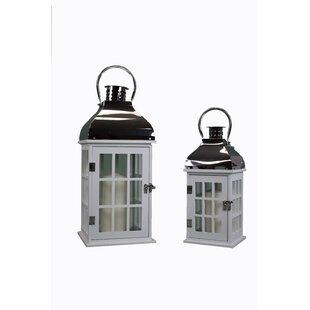 2 Piece Glass/Wood Lantern Set by Charlton Home
