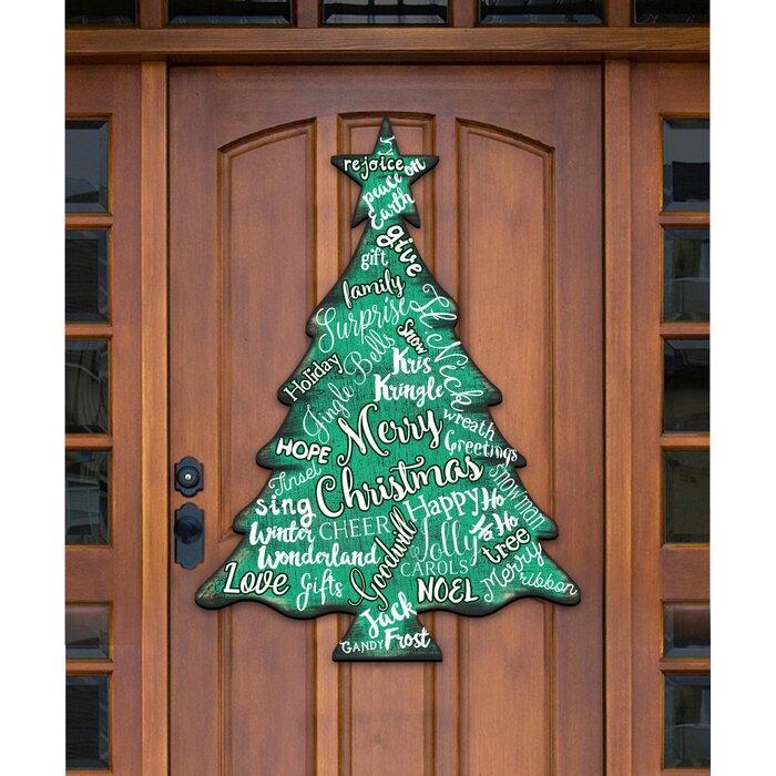 Merry Christmas Tree Hanging Figurine Wood Door Hanger Wall Decor