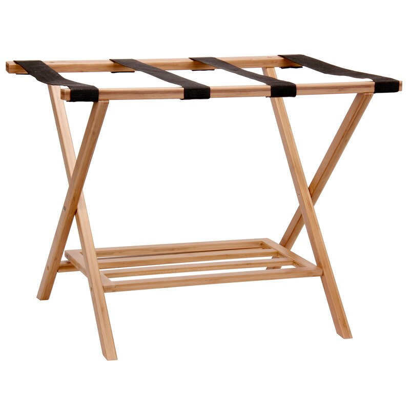 Perfect Bamboo Luggage Rack With Tray
