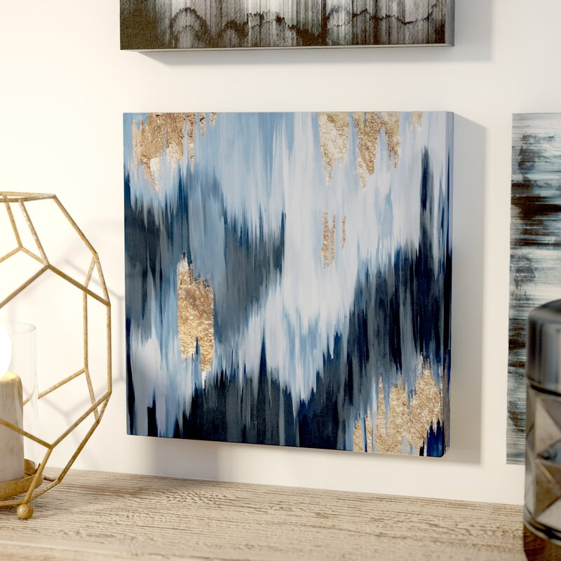 Mercury Row \'Gold Blue Fall\' Framed Oil Painting Print on Wrapped ...