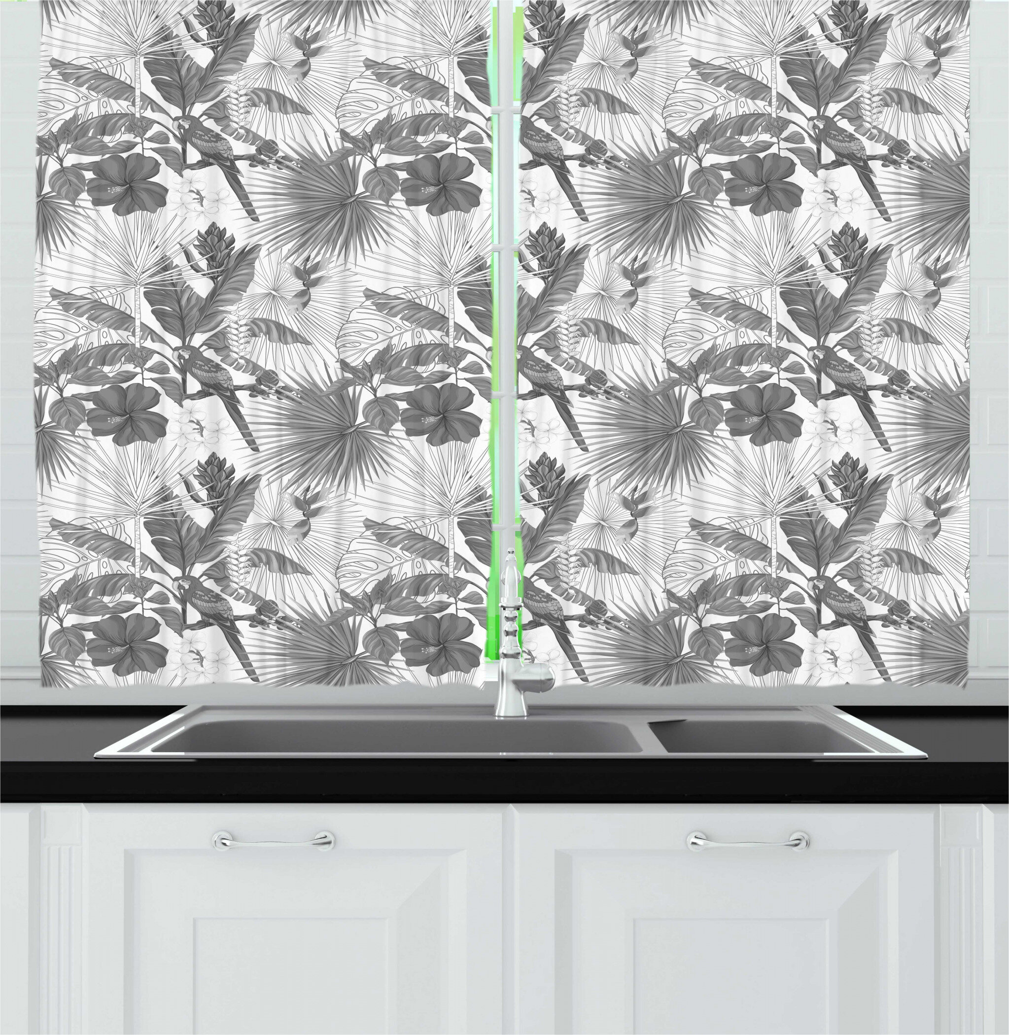 East Urban Home Hawaii Greyscale Exotic Jungle Floral Pattern With Tropical Tree Leaves And Hibiscus Pansy Kitchen Curtain Wayfair
