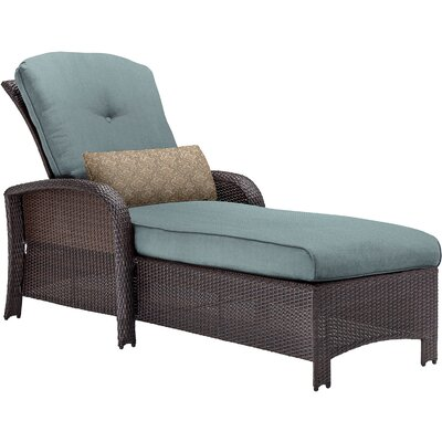 Barrand Reclining Chaise Lounge with Cushion Color: Blue by Darby Home Co