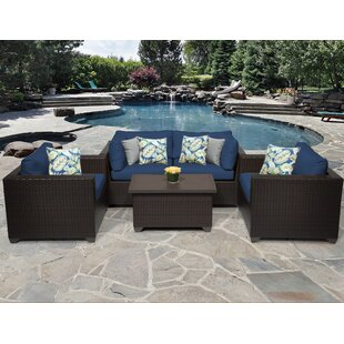 TK Classics Belle 5 Piece Rattan Sofa Seating Group with Cushions