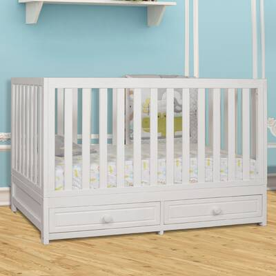 Baby Scoot 3in1 Convertible Crib With Toddler Bed Conversion Kit White Washed Natural