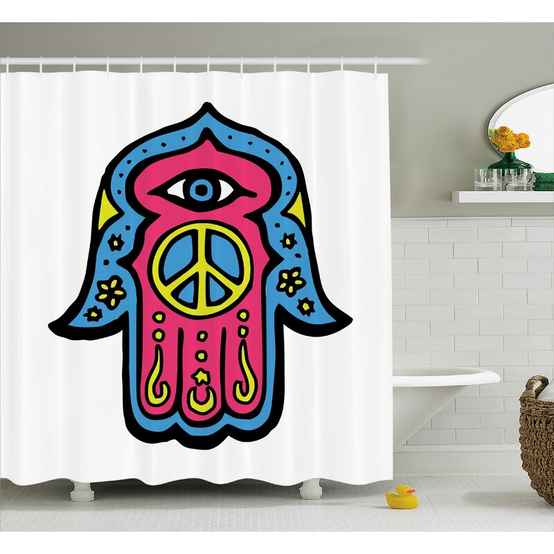 Annette Hamsa Hippie Boho Hand Of Fatima With Peace Sign Shower Curtain