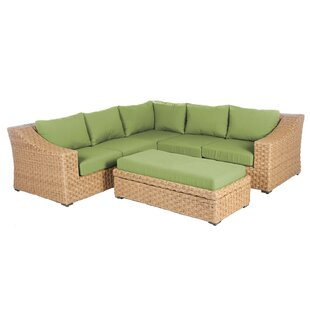 St. Johns 2 Piece Rattan Sunbrella Sectional Seating Group with Cushions