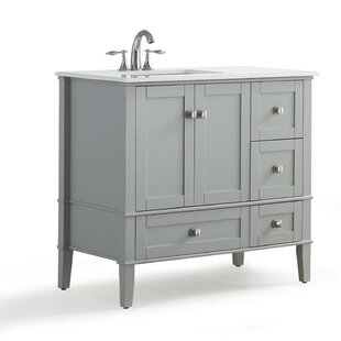 Chelsea Left Offset 37 Single Bathroom Vanity with Quartz Marble Top