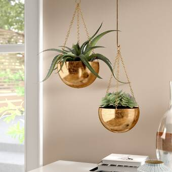 8d482080aa8 Orren Ellis Engelman Modern 2-Piece Metal Hanging Planter Set ...
