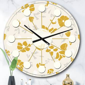 East Urban Home Oversized Foliage V Mid Century Wall Clock Wayfair