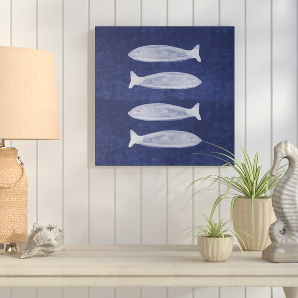Linda Woods 'Indigo Fish' Acrylic nautical decor on Canvas