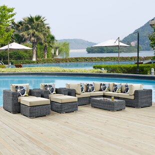 Keiran 10 Piece Sunbrella Sectional Set with Cushions