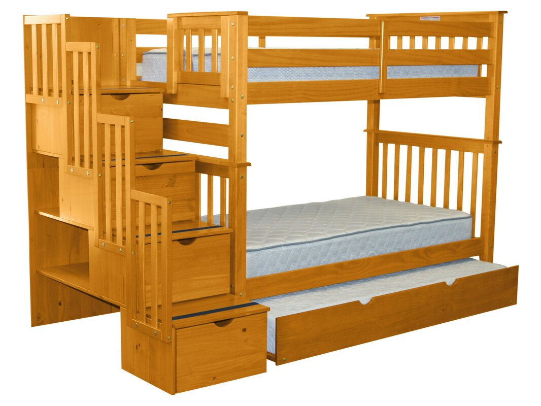 Bedz King Stairway Tall Twin Over Twin Bed with Trundle & Reviews ...