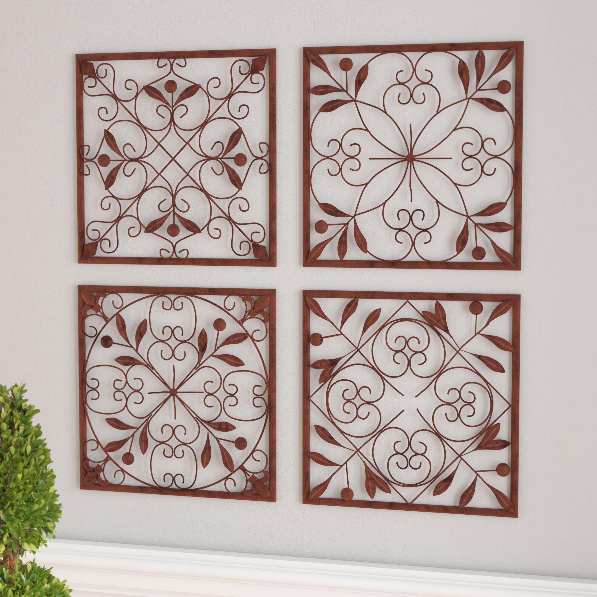 Three Posts 4 Piece Bronze Iron Wall Décor Set U0026 Reviews | Wayfair