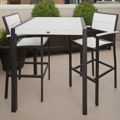Trex Outdoor Surf City 3 Piece Bar Height Dining Set Colour: Textured Bronze / Classic White