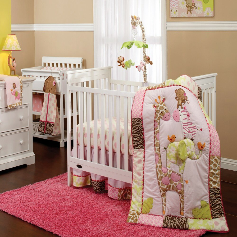 Bedtime Originals Twinkle Toes Multi Jungle 4 Piece Crib Bumper Pink