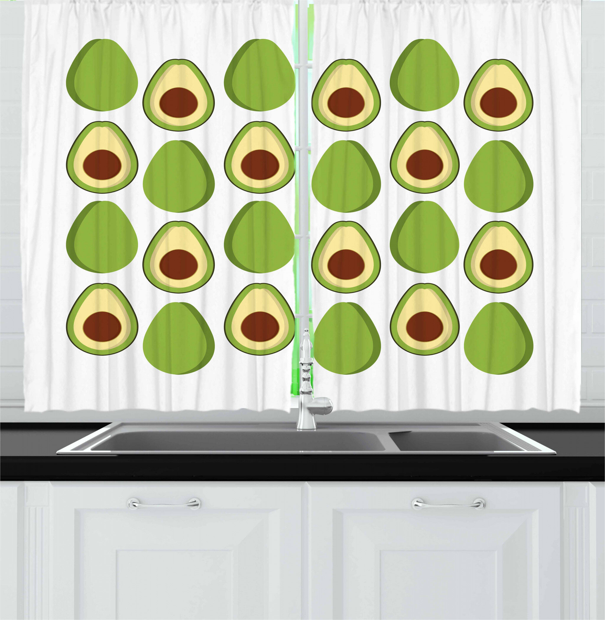East Urban Home Avocado Kitchen Curtain Wayfair