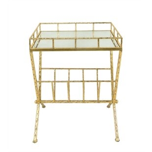 Chaney Tempting Metal & Glass Magazine Rack End Table by Rosdorf Park