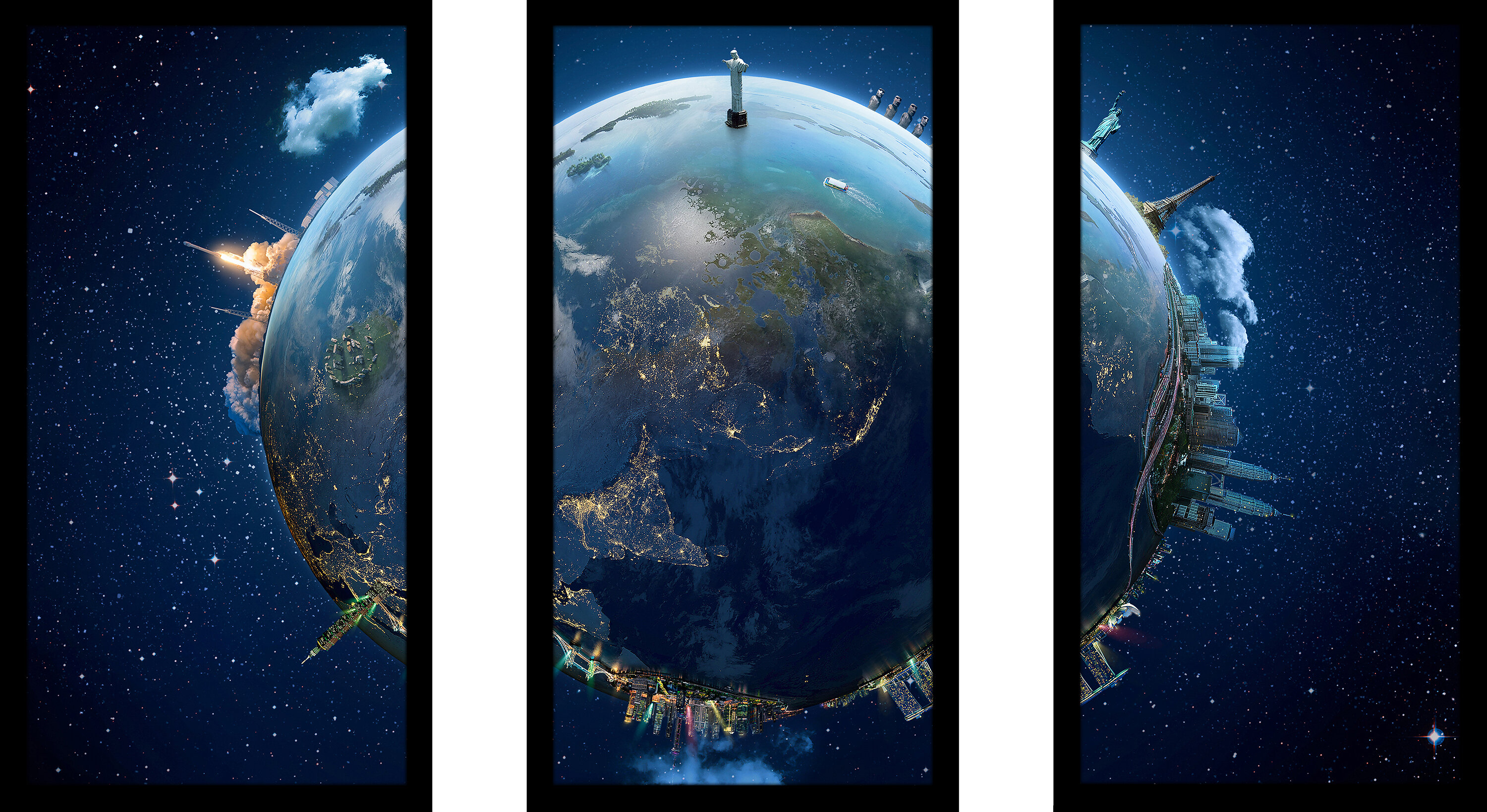 travel our earth planet 3 3 piece framed wall art set fcac3523