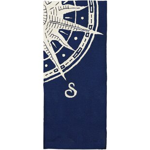 Find for Faris Sailors Compass Hand-Woven Blue Indoor/Outdoor Area Rug Affordable