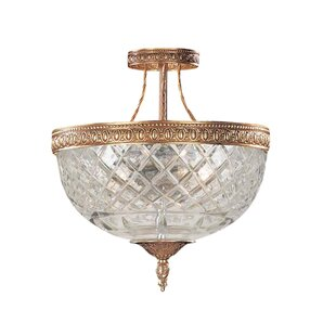 House of Hampton Aureolin 3-Light Semi-Flush Mount
