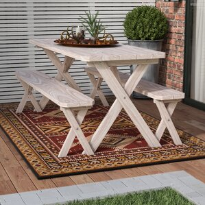 Riverhead Pine Cross Leg Picnic Table With 2 Benches
