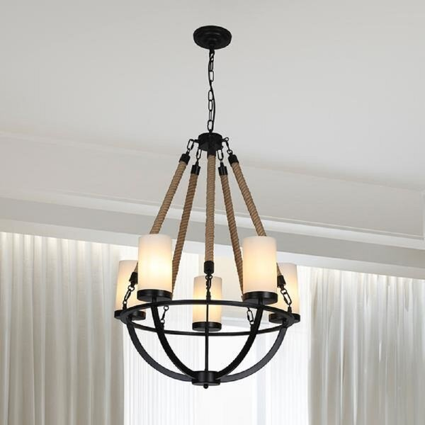 Longshore Tides Sharpe 5 Light Candle Style Empire Chandelier With Rope Accents Wayfair