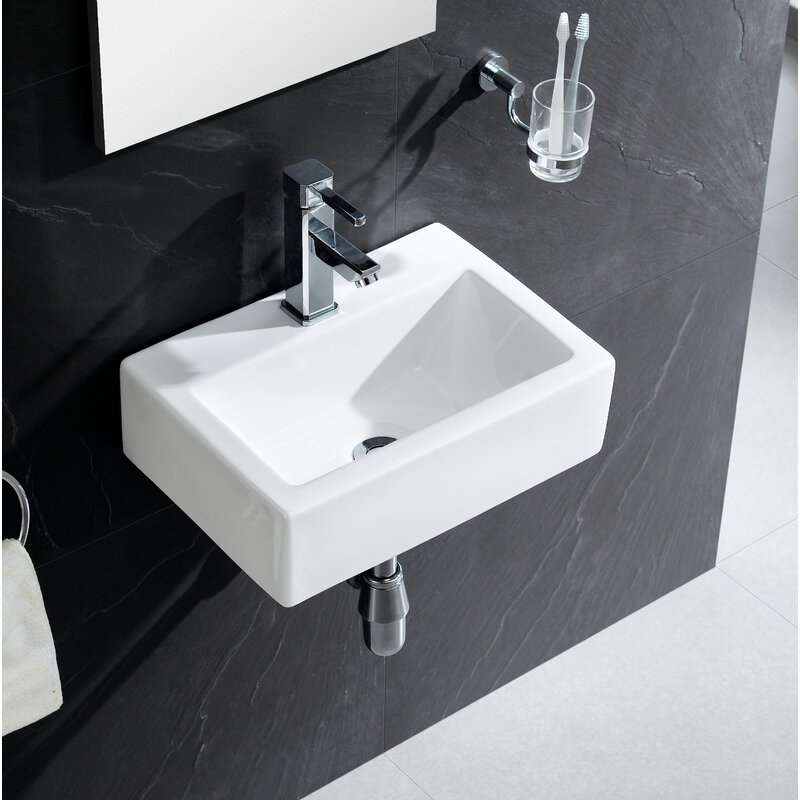 "Fine Fixtures Modern Ceramic 17"" Wall Mount Bathroom Sink & Reviews"