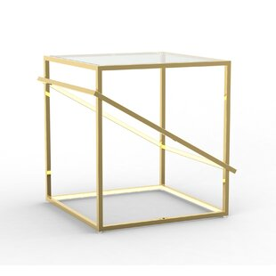 Gilford Stainless Steel Geometric LED End Table by Everly Quinn Top Reviews
