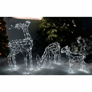 pre lit reindeer family outdoor garden oversized figurine - Lighted Christmas Reindeer Outdoor Decorations Uk