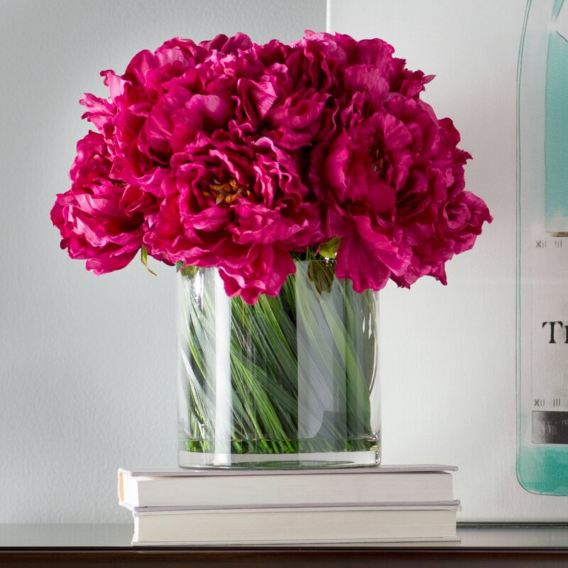 Magenta Peony Bouquet In Acrylic Water Glass Vase Reviews Birch Lane