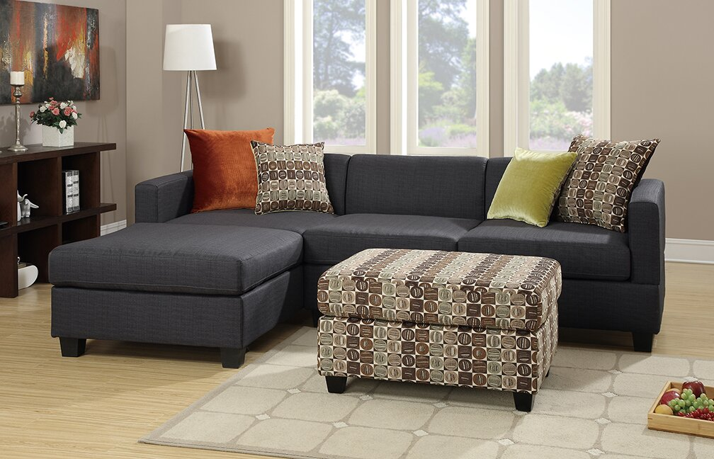 Bobkona Dayton Reversible Sectional : couch with reversible chaise - Sectionals, Sofas & Couches