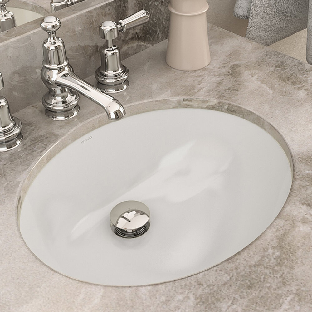 decolav carlyn classically redefined ceramic oval undermount bathroom sink with overflow reviews wayfair - Bathroom Sink