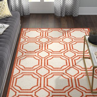 Maritza Ivory/Orange Indoor/Outdoor Area Rug