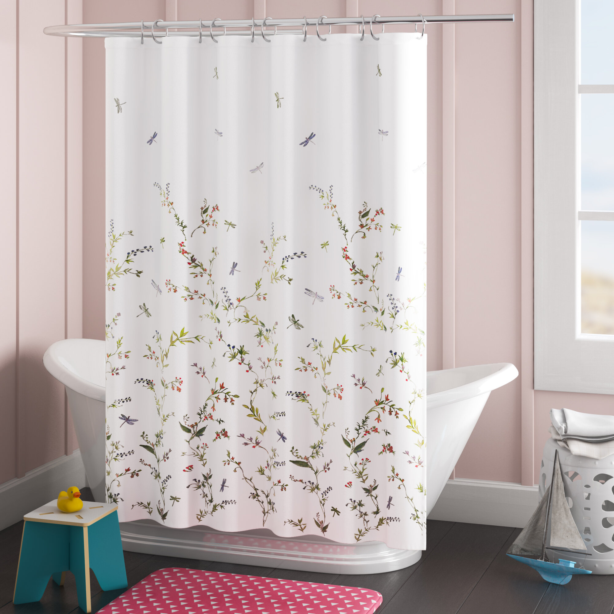 Donell Dragonfly Garden Fabric Single Shower Curtain