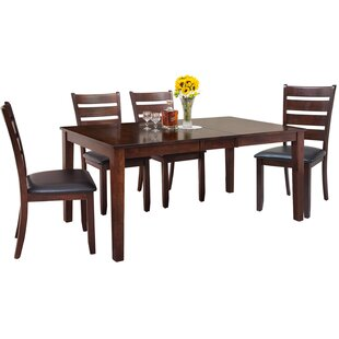 Downieville-Lawson-Dumont Traditional 5 Piece Solid Wood Dining Set Loon Peak