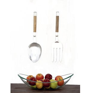2 Piece Aluminum And Wood Utensil Wall Décor Set