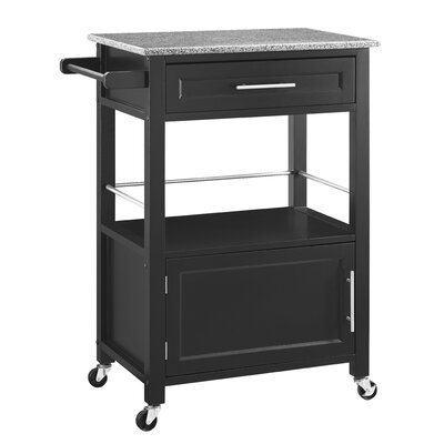 Elsie Kitchen Cart with Granite Top Base Finish: Black by Andover Mills
