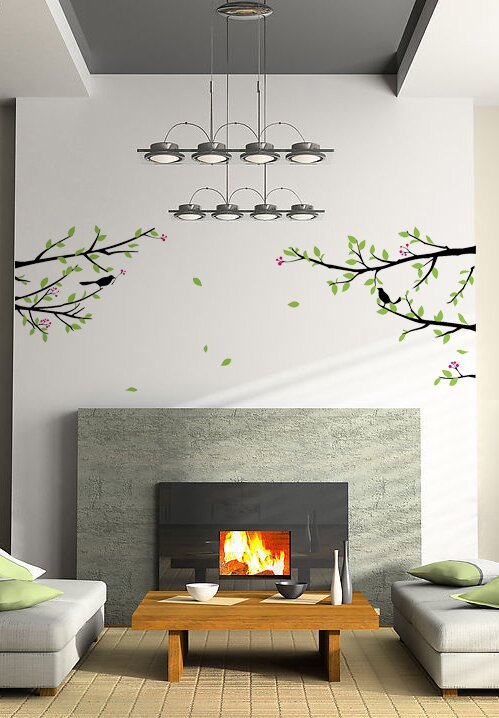 Pop Decors Elegant Tree Branch with Birds Decoration Wall Decal ...