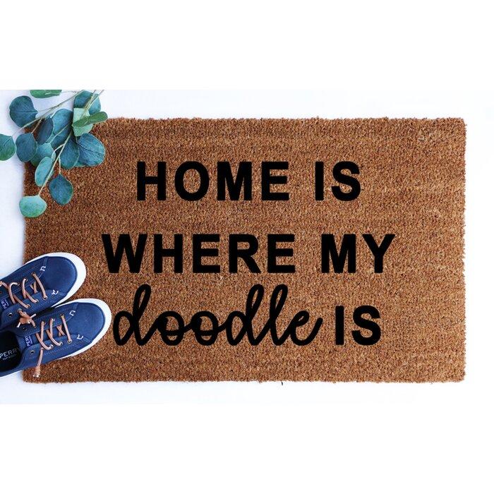 Home Is Where My Doodle Is Coir 30 In X 18 In Non Slip Indoor Door Mat