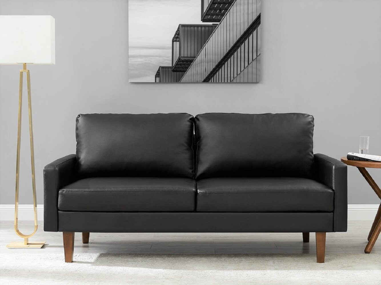 Wrought Studio Piccadilly 69 7 Wide Faux Leather Square Arm Loveseat Reviews Wayfair