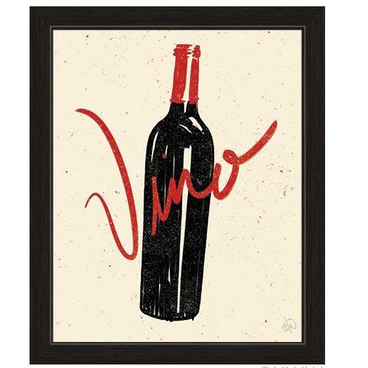 Click Wall Art Bottle Of Vino Framed Painting Print Wayfair