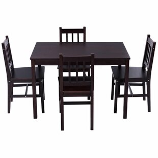 Sundberg 5 Piece Solid Wood Dining Set by Winston Porter Top Reviews
