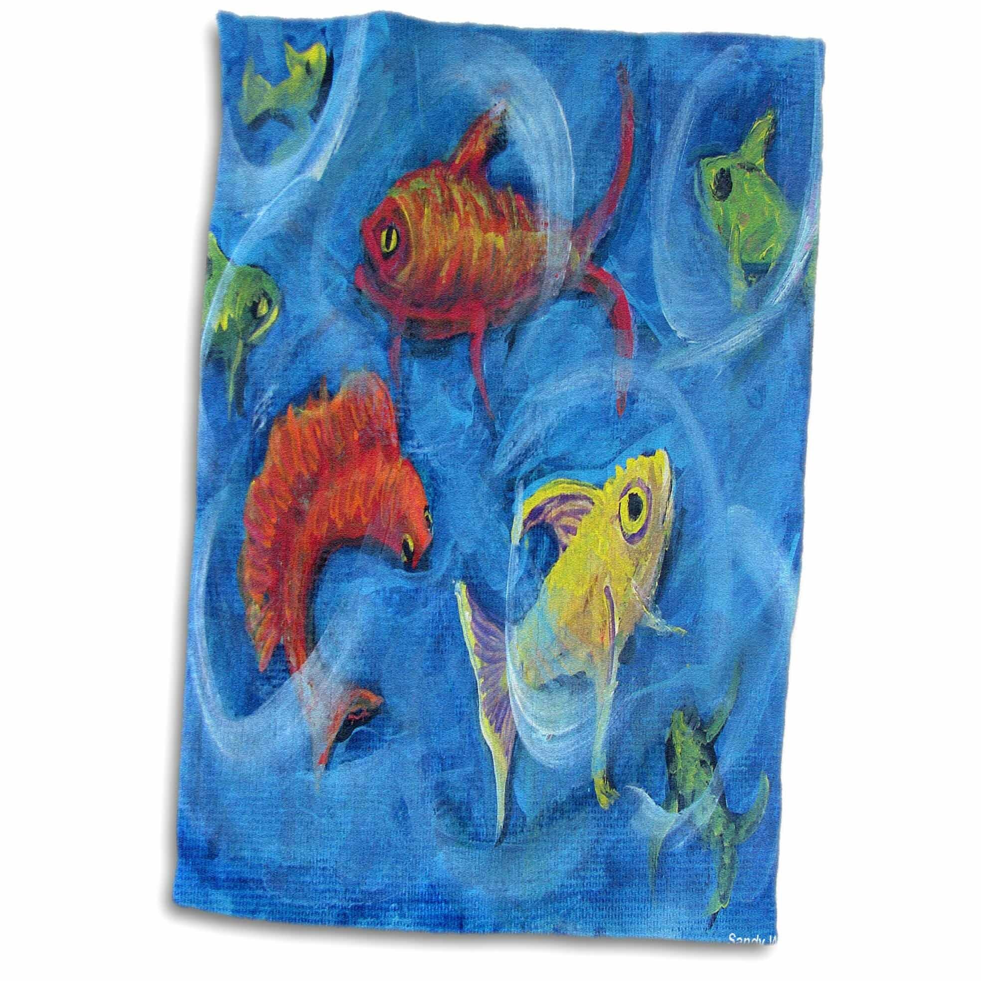 Symple Stuff Cristobal Dance Club Fish Swing And Swirl In Bright Hand Towel Wayfair