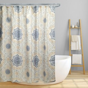 Dishon Floral Scroll Medallion Single Shower Curtain