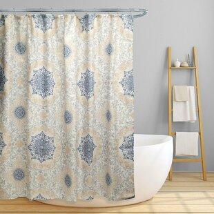 Dishon Floral Scroll Medallion Single Shower Curtain